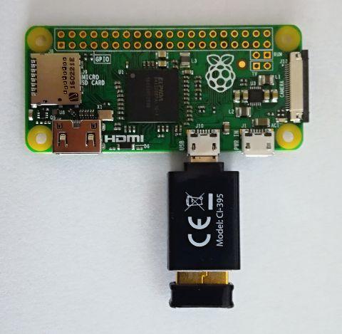 Zero s USB WiFi a USB redukcí